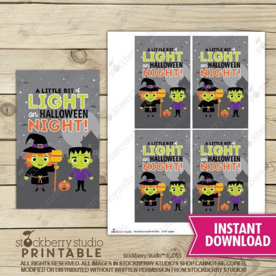 Halloween Glow Stick Card - Printable