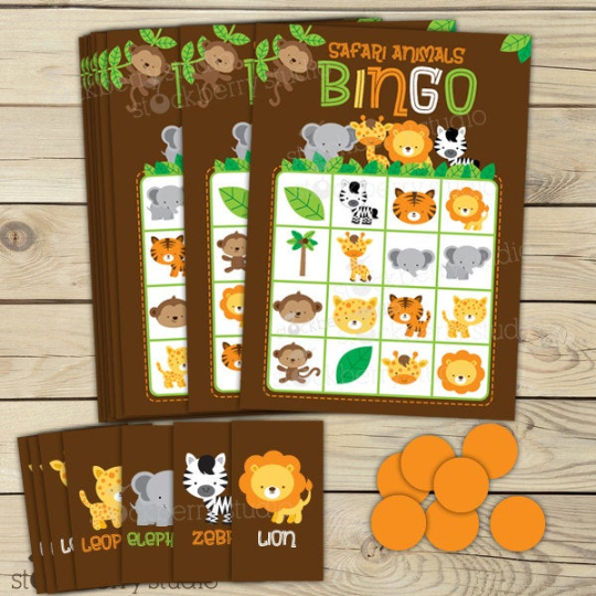 Safari Animals Jungle Baby Shower Games