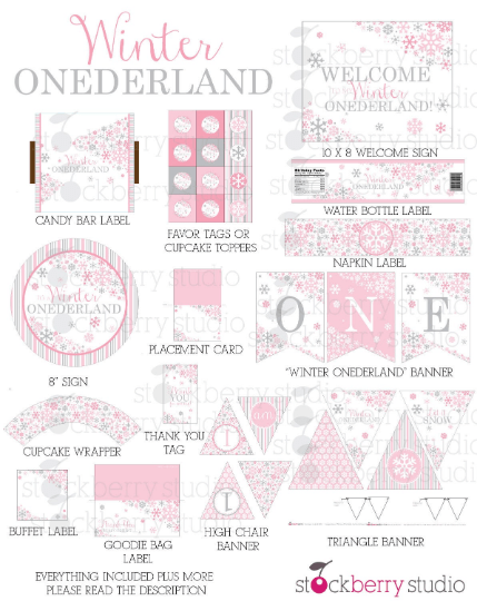 Winter Onederland Birthday Decorations Printable Party Kit - Stockberry Studio