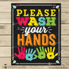Wash Your Hands Sign - Kids Bathroom Art Sign - Stockberry Studio