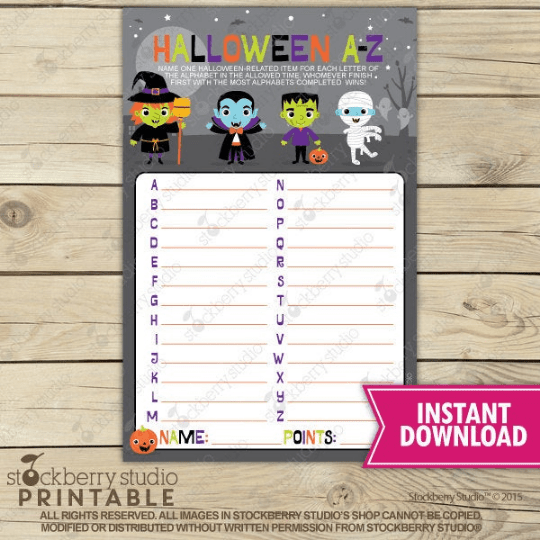Halloween A-Z Party Game - Printable - Stockberry Studio