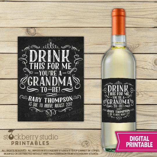 Grandparents Printable Wine Label Gift - Stockberry Studio