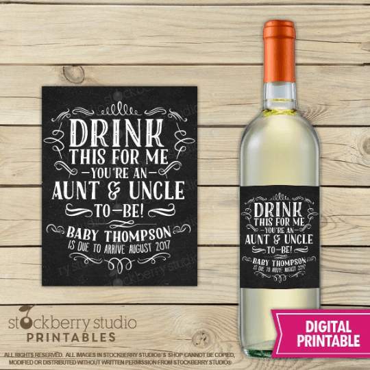 Pregnancy Announcement Printable Wine Label - Stockberry Studio