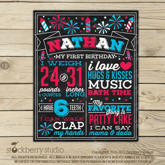 4th of July 1st Birthday Printable Chalkboard Sign