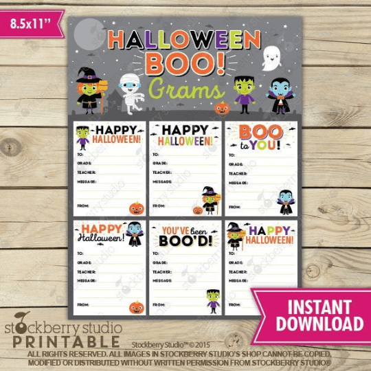Halloween Candy Grams - Printable - Stockberry Studio