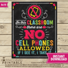 No Cell Phone Allowed Classroom Sign - No Cellphone Classroom Poster Printable