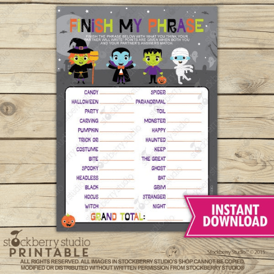 Halloween Finish My Phrase Party Game - Printable - Stockberry Studio