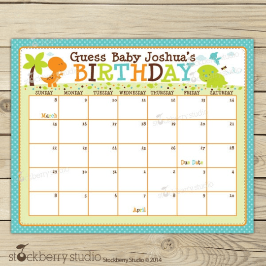 Dinosaur Baby Shower Guess the Due Date Calendar
