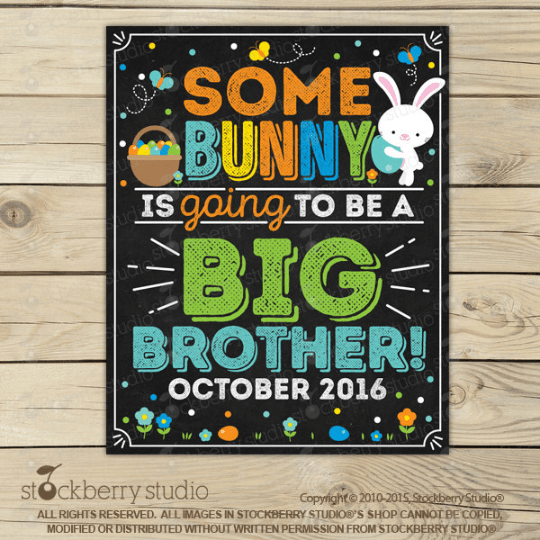 Easter Big Brother Pregnancy Announcement Chalkboard Sign - Stockberry Studio