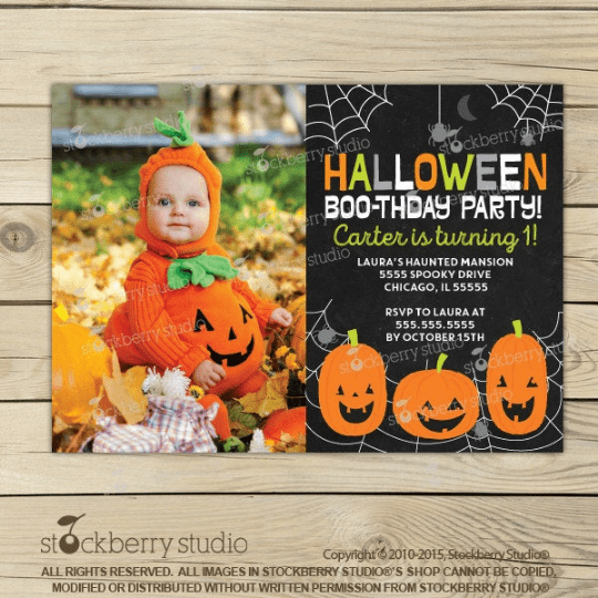 Halloween 1st Birthday Printable Invitation - Stockberry Studio