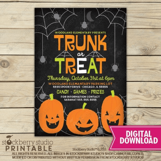 Trunk or Treat Halloween Flyer
