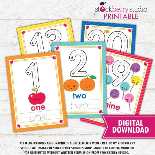 Counting Flashcards Numbers 1-20 - Homeschool - Preschool - Kindergarten Activity - Stockberry Studio