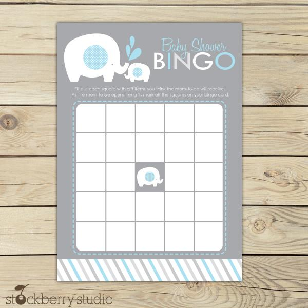 Boy Elephant Baby Shower Bingo Game Blue and Gray Instant Download - Stockberry Studio