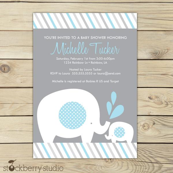 Boy Elephant Baby Shower Invitation Blue and Gray - Stockberry Studio