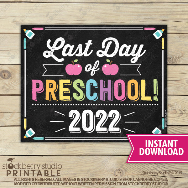 Last Day of Preschool 2020 Sign (Pastel Colors) - Any Grade - Stockberry Studio