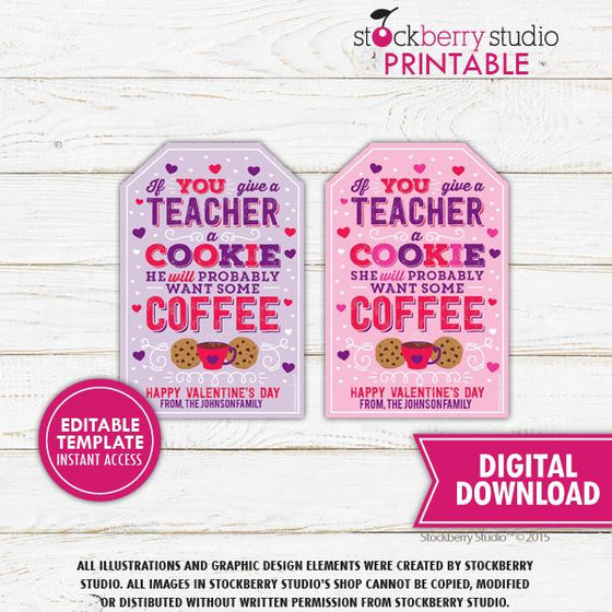 Valentine Teacher Coffee Cookie Tag Template