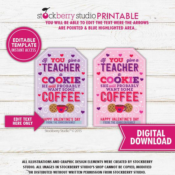 Valentine Teacher Coffee Cookie Tag Template - Stockberry Studio