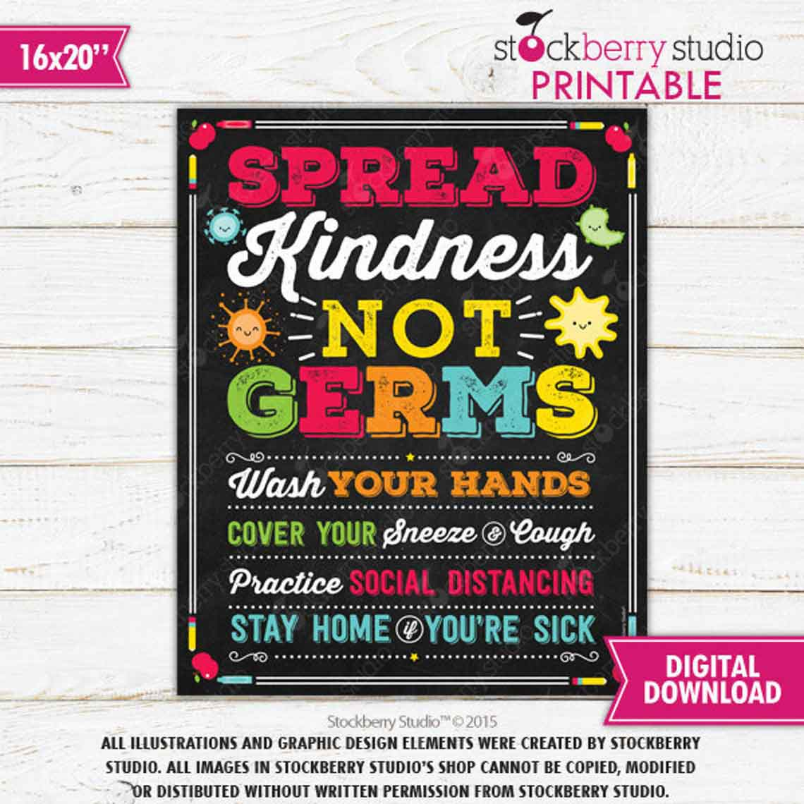 Spread Kindness Not Germs Teacher Classroom Sign