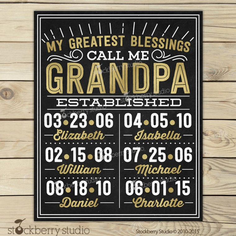 Grandpa Gift Wall Art Grandchildren Christmas Day Gifts Personalized