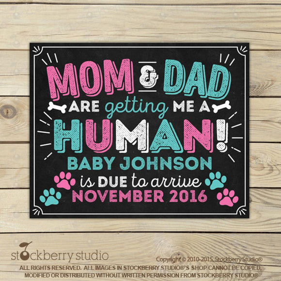 Dog Pregnancy Announcement Sign