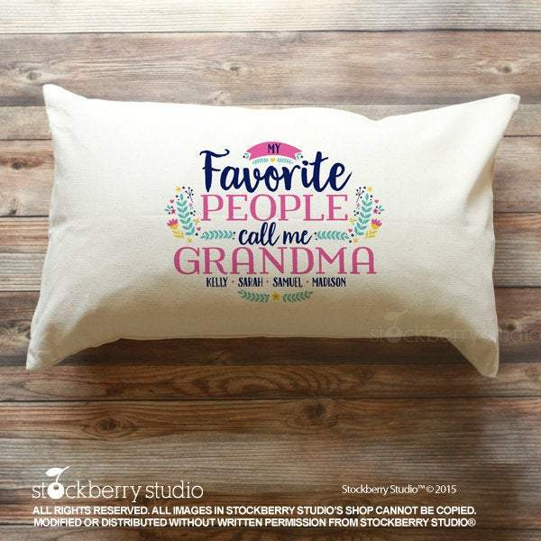 Grandma Pillow Cover - My Favorite People Call Me Grandma Pillow with Grandkids Names - Stockberry Studio