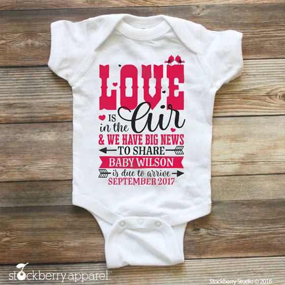 Valentine's Day Pregnancy Announcement Ideas Baby Bodysuit - Stockberry Studio