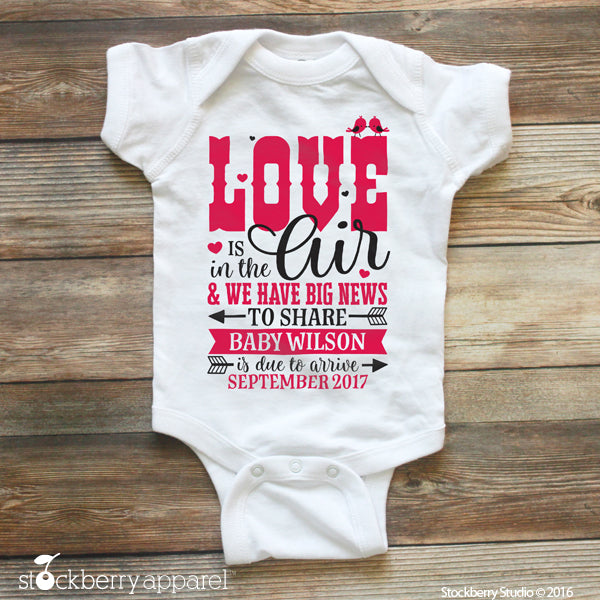 Valentines Day Pregnancy Announcement Ideas Baby Bodysuit