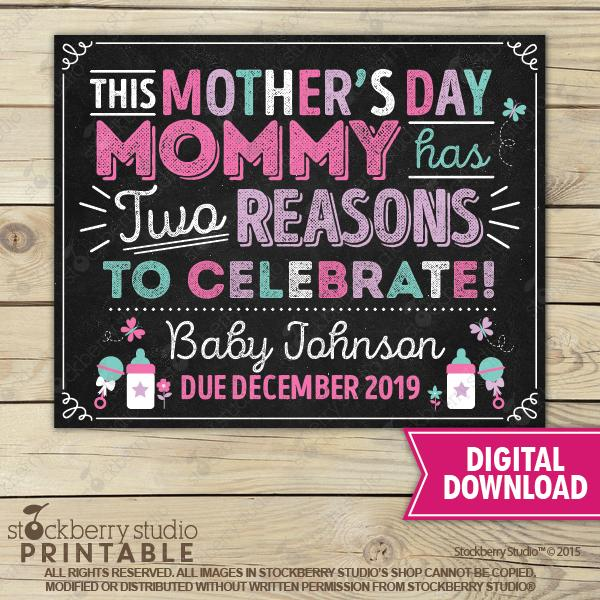 Mother's Day Pregnancy Announcement Chalkboard Sign - Stockberry Studio