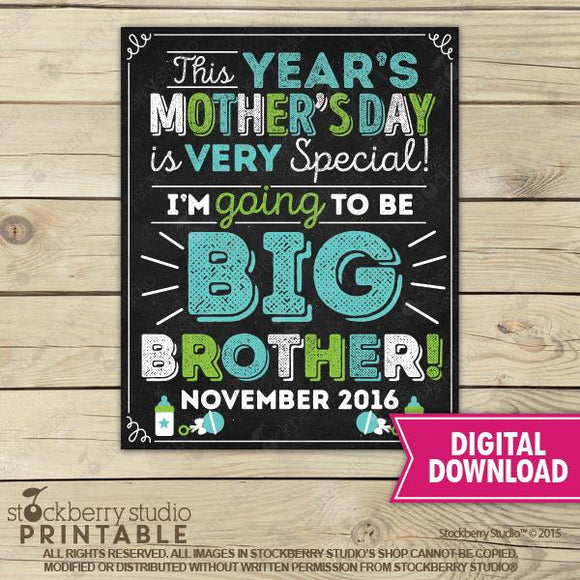 Mother's Day Big Sister Pregnancy Announcement Chalkboard Sign - Stockberry Studio