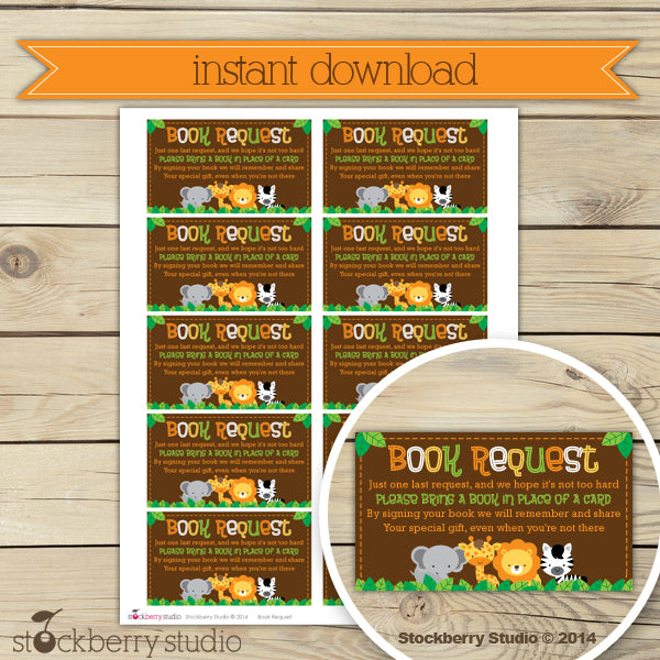 Safari Jungle Baby Shower Book Request Card Printable Instant Download - Stockberry Studio