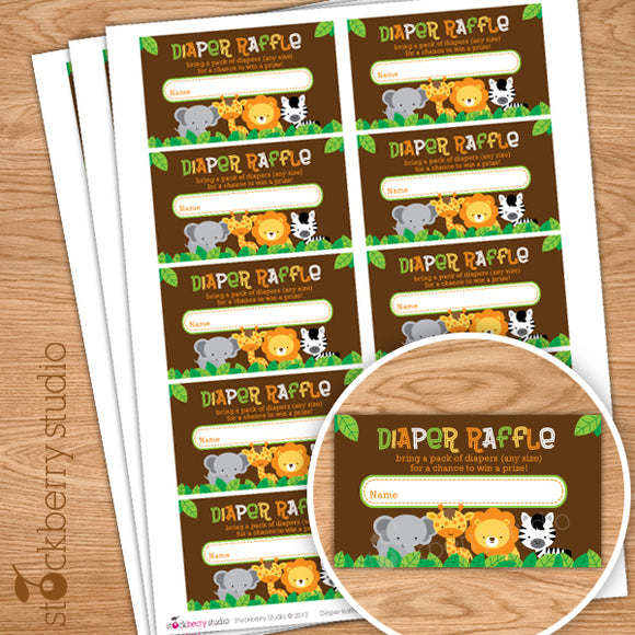 Safari Jungle Baby Shower Diaper Raffle Ticket Instant Download - Stockberry Studio