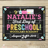 Girl First Day of Preschool Chalkboard Sign Printable - Stockberry Studio