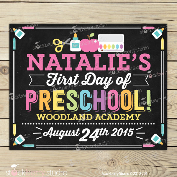 photo about First Day of Pre K Sign Printable identified as Woman Initially Working day of Preschool Chalkboard Signal Printable