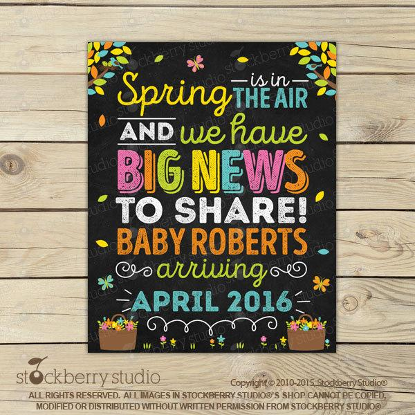 Spring Pregnancy Announcement Chalkboard Sign Printable - Stockberry Studio