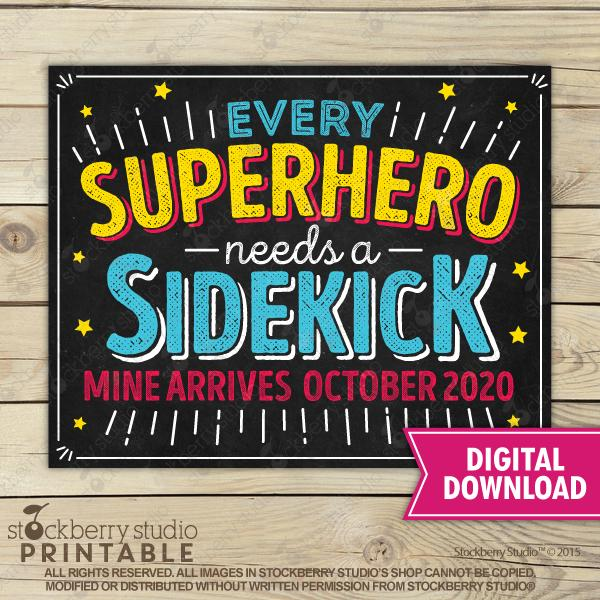 Superhero Pregnancy Announcement Sign - Stockberry Studio