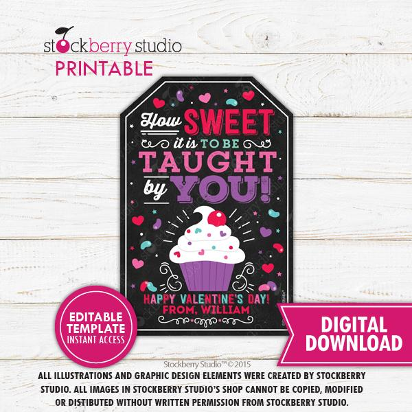 Valentine's Day Sweet Teacher Tag Template - Stockberry Studio