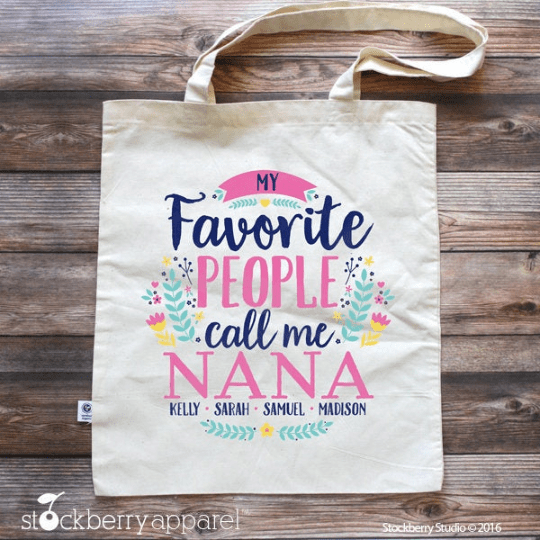 Grandma Tote Bag - My Favorite People Call Me Grandma with Grandkids Names