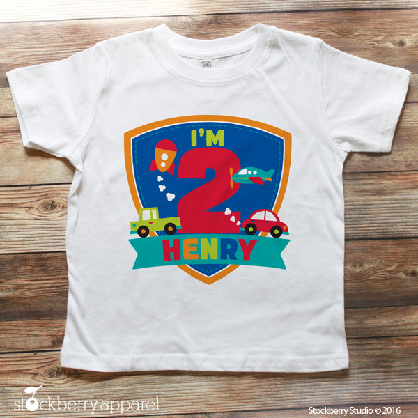 Transportation Birthday Shirt Personalized