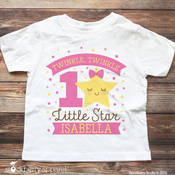 Girl Twinkle Twinkle Little Star Birthday Shirt Personalized