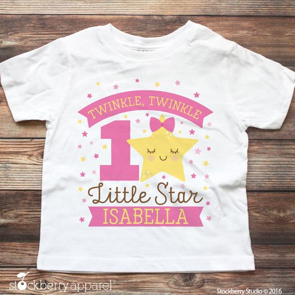 9d6f1a45 Girl Twinkle Twinkle Little Star Birthday Shirt Personalized ...