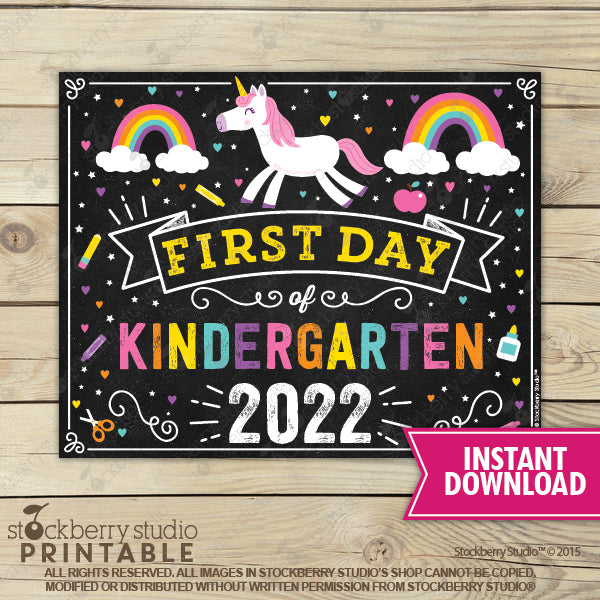 Unicorn First Day of Kindergarten Sign Printable Instant Download