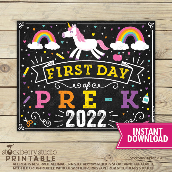 Unicorn First Day of Pre-K Sign Printable Instant Download