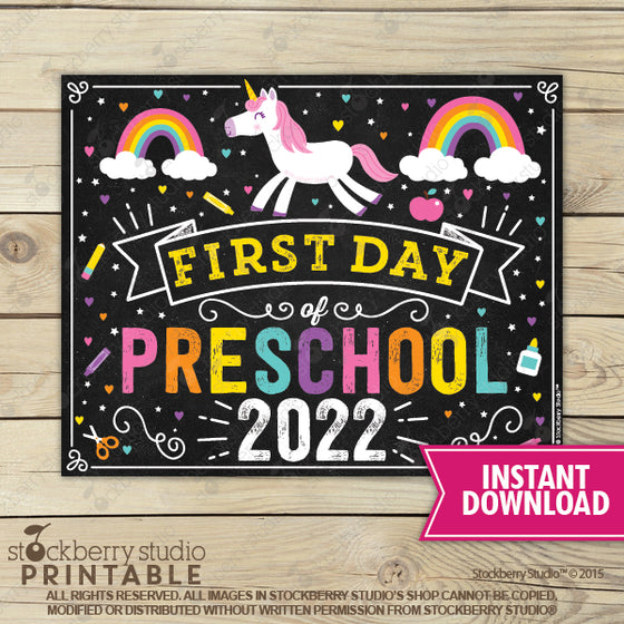 Unicorn First Day of Preschool Sign Printable Instant Download