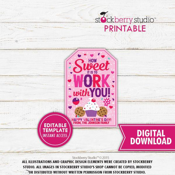 Valentine's Day Coworker Gift Tag Editable Template