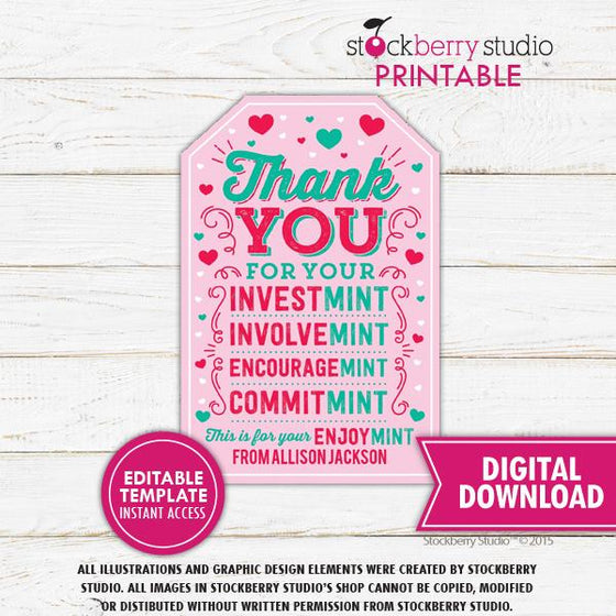 Valentine Mint Tag Template - Stockberry Studio