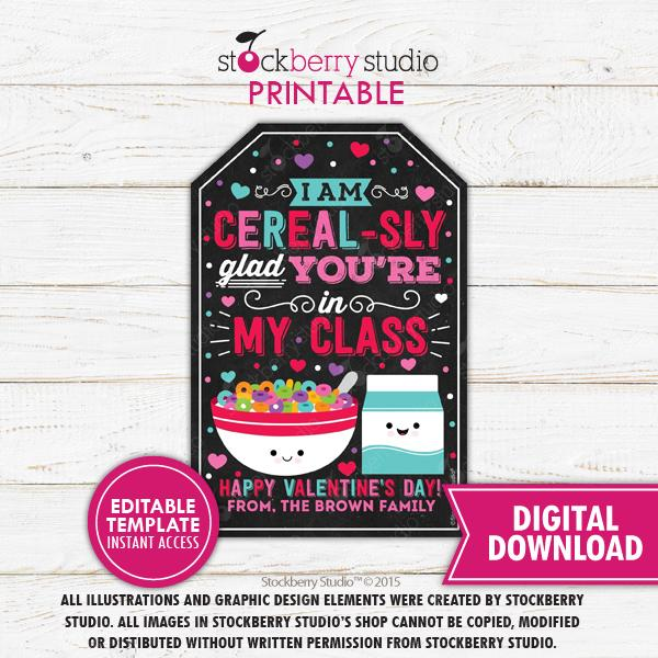 Valentine's Day Cereal Tag Editable Template - Stockberry Studio