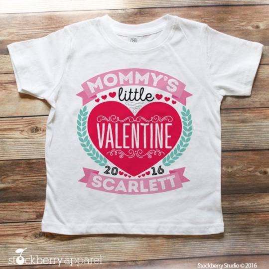 Kids Valentine Shirt Daddy's Little Valentine Girls - Stockberry Studio