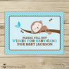 Girl Monkey Baby Shower Wishes for Baby Card Purple