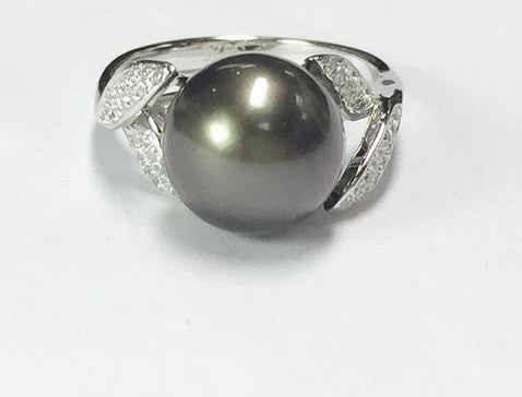 Classic 10mm Big Size Natural Tahiti Black Pearl Sterling Silver