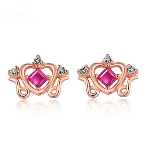 S925 Natural  Ruby Stud Earrings Sterling Silver Rose Gold